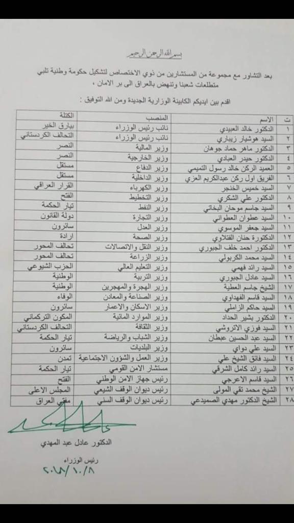 """عبد المهدي يعلق على تسريب """"التشكيلة الوزارية الجديدة"""""""