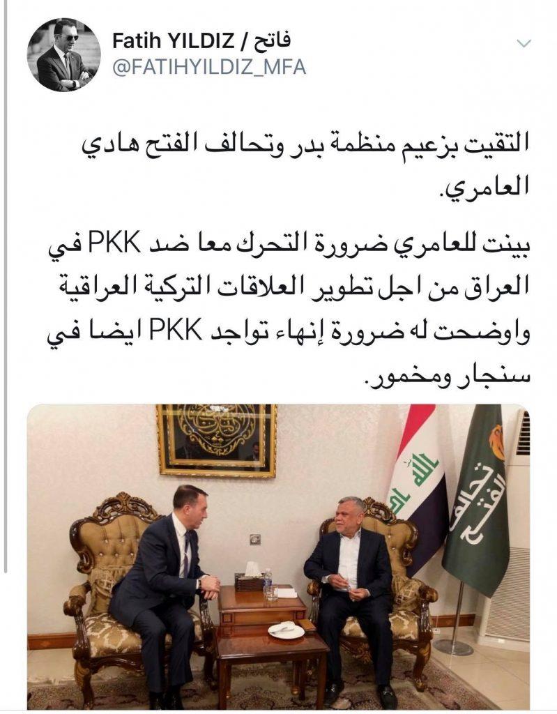 """بعد لقاء هادي العامري.. السفير التركي """"يُغرد"""""""