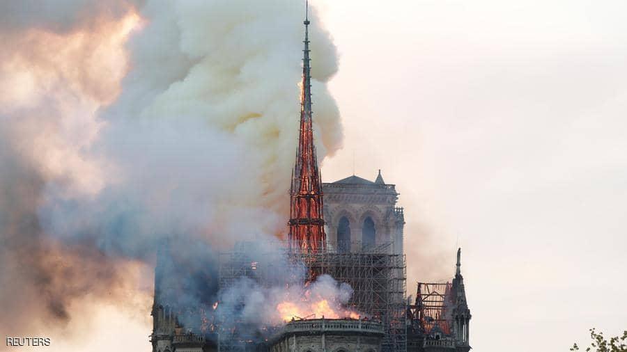 """ترجيحات عن أسباب حريق كاتردائية نوتردام.. وترامب يقدم """"مقترحا"""" لإطفائه"""