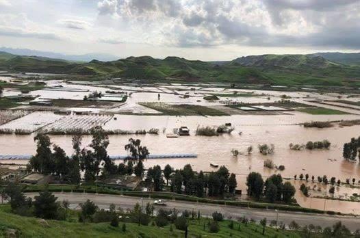 ريف ناحية طقطق في أربيل يغرق بمياه الأمطار (صور)