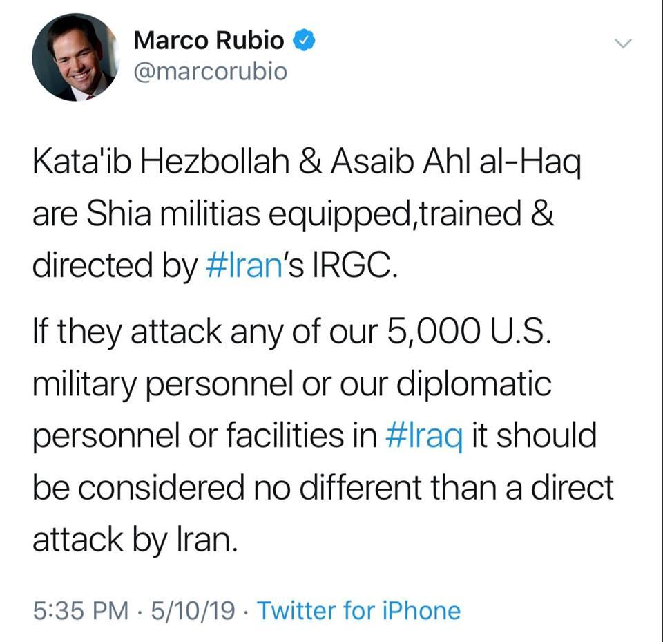 """سيناتور أميركي يعدّل تغريدة كشف فيها عدد """"المقاتلين الأميركيين"""" في العراق"""