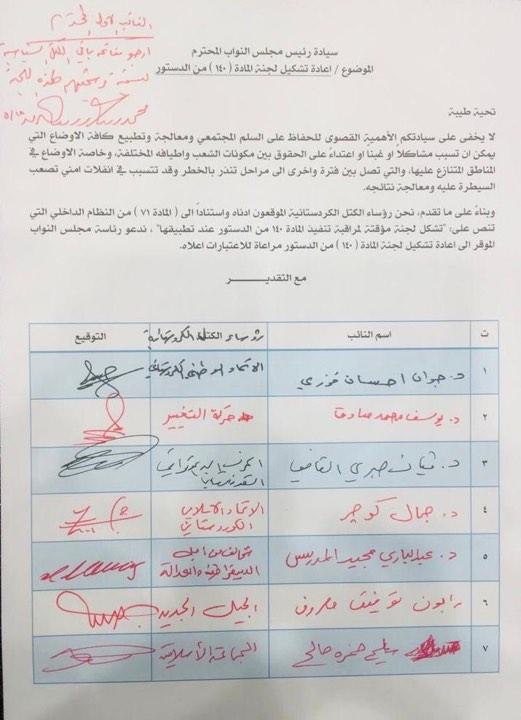"""وثيقة: الكتل الكردستانية تطالب البرلمان بإعادة تشكيل """"لجنة المادة 140"""""""