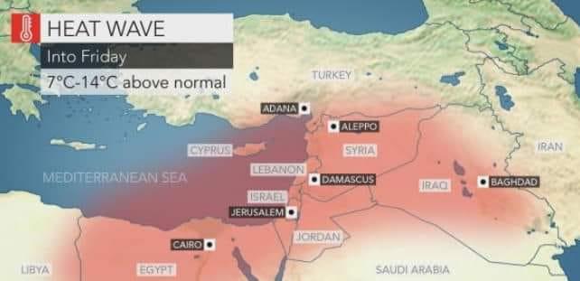 طقس العراق: موجة حر تضرب أغلب مدن البلاد ابتداءً من الجمعة