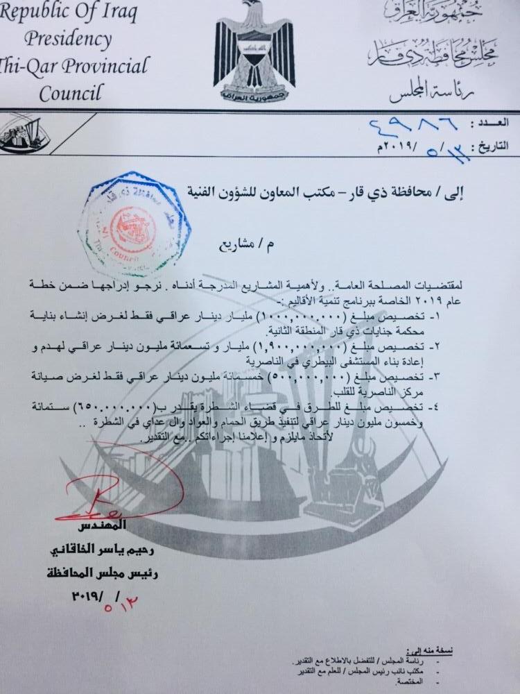 مجلس ذي قار يطالب بـ 4 مليارات دينار لمشاريع في المحافظة