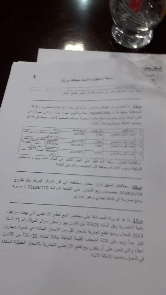 """""""ناس"""" ينشر لائحة استجواب محافظ ذي قار"""