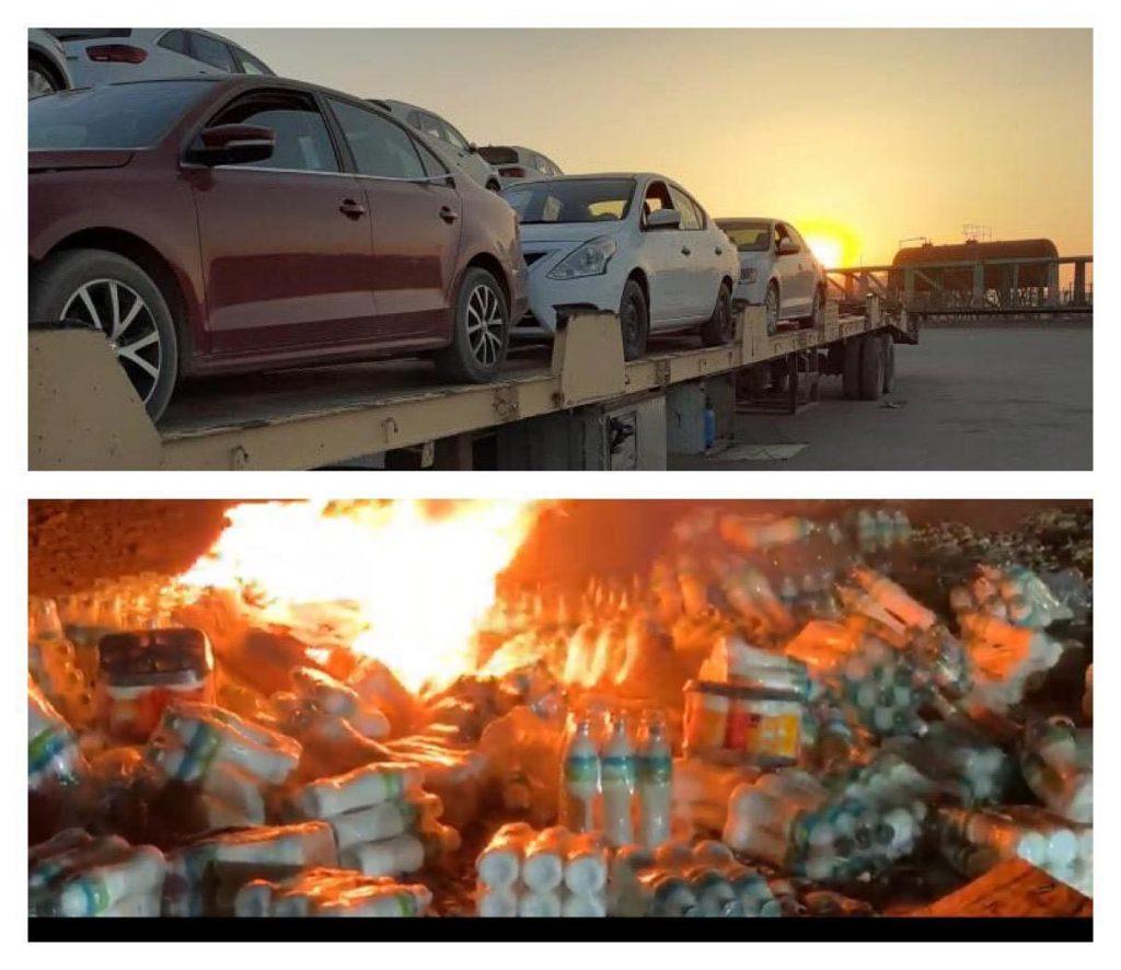 """صور: الكمارك تحرق شحنة ألبان قادمة من الأردن """"حماية للمنتج الوطني"""""""