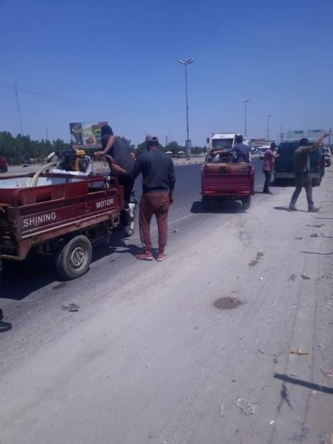 """أمانة بغداد تلاحق""""ستوتات"""" سمك وخضار عند مدخل أبو دشير"""