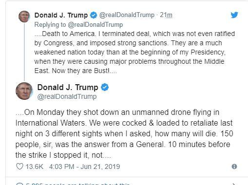 """ترامب عن إلغاء الضربة على إيران: """"طائرة مُسيّرة"""" لا تستحق قتل ١٥٠ إيرانيا"""