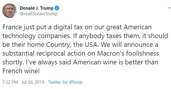 أسباب هجوم ترامب على ماكرون: النبيذ الأميركي أفضل من النبيذ الفرنسي!