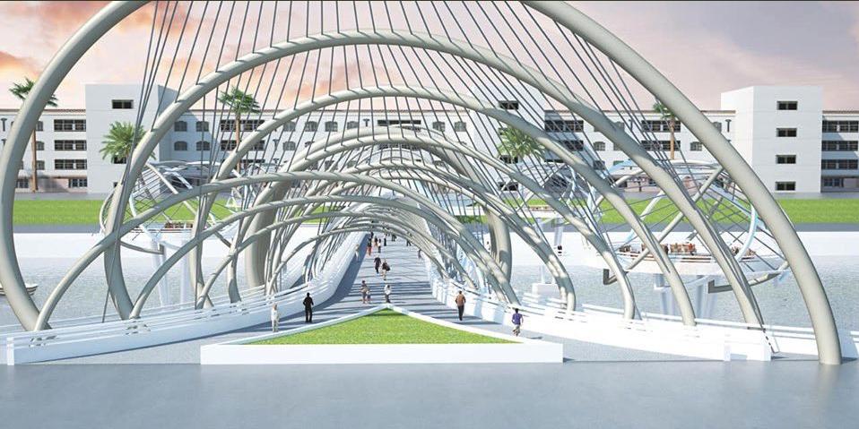وزير الإعمار يكشف عن تصاميم جسر الكريعات على دجلة (صور)
