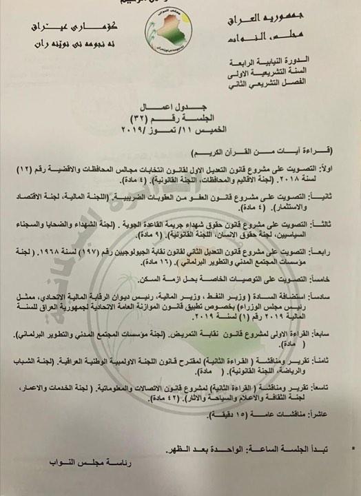 """جدول أعمال مزدحم لجلسة البرلمان غداً: استضافة 4 مسؤولين """"كبار"""""""