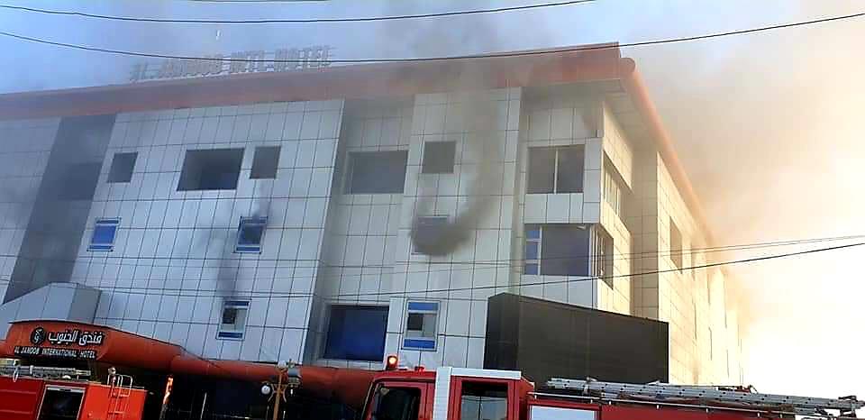 """الصحة تعلن حصيلة ضحايا حريق فندق """"الجنوب"""" في محافظة ذي قار"""