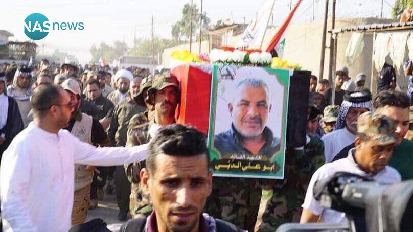 """صور: تشييع جثمان قيادي حشد شعبي قتل في """"القصف الإسرائيلي"""" على القائم"""
