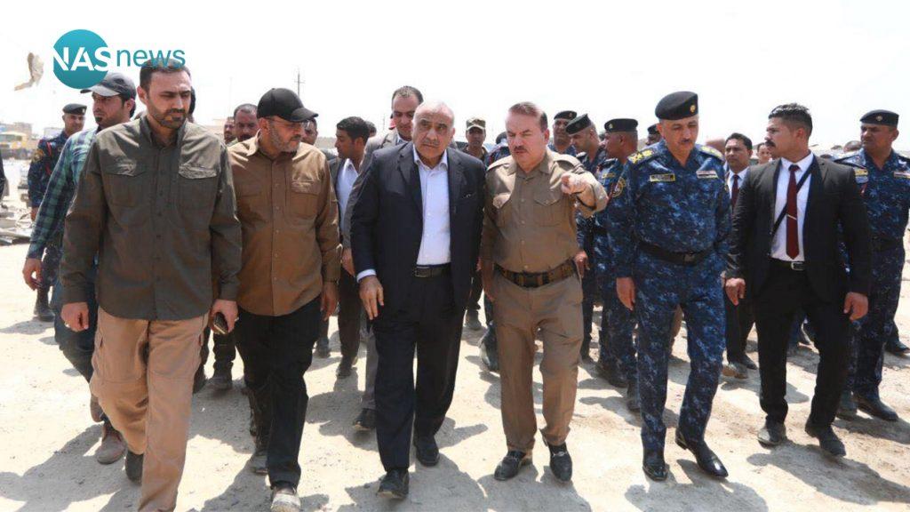 عبدالمهدي مع الياسري والولائي في موقع شهد حريقا وسلسلة تفجيرات