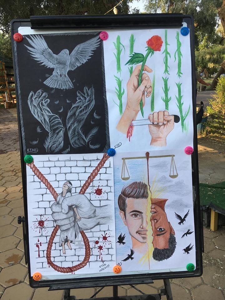 """كرنفال """"مُعاداة العنف"""" في ذي قار: فتيات يواجهن سماسرة الكراهية بشفرة الفن (صور)"""