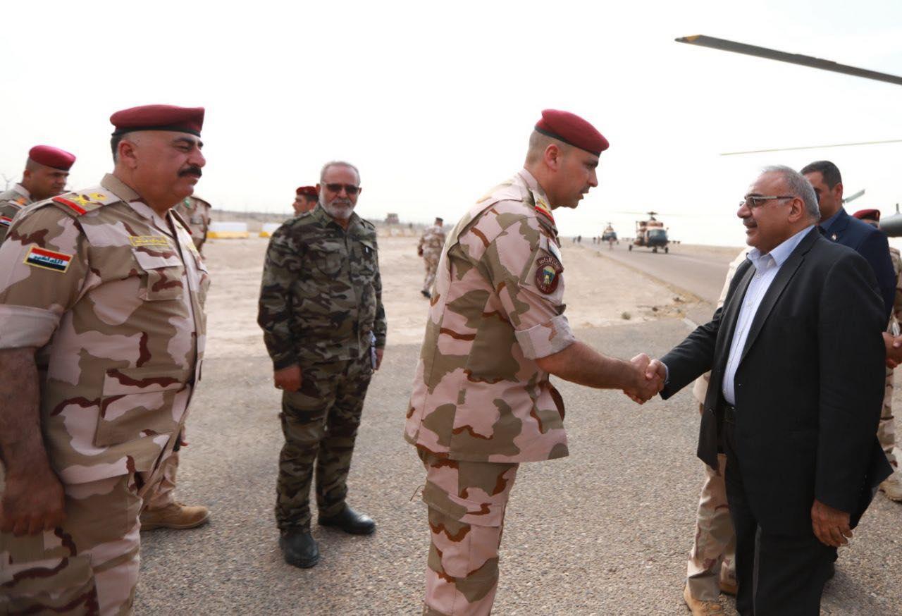 """عبد المهدي يصل إلى محافظة الأنبار للإشراف على """"إرادة النصر""""(صور)"""
