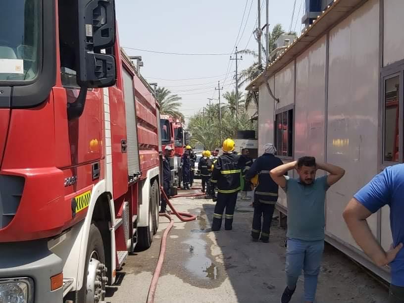 صور أولية من حريق قناة النجباء وسط بغداد