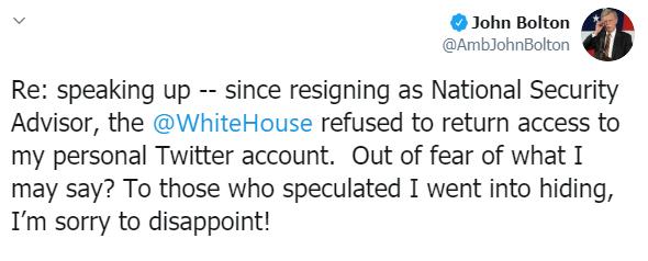 """جون بولتون: منعوني من الوصول إلى حسابي في """"تويتر"""""""