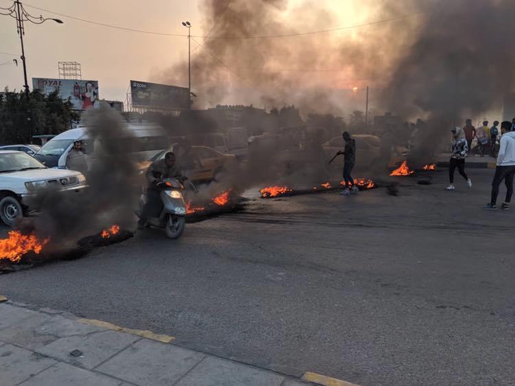 تظاهرات في السماوة وإطارات مشتعلة تغلق الشوارع