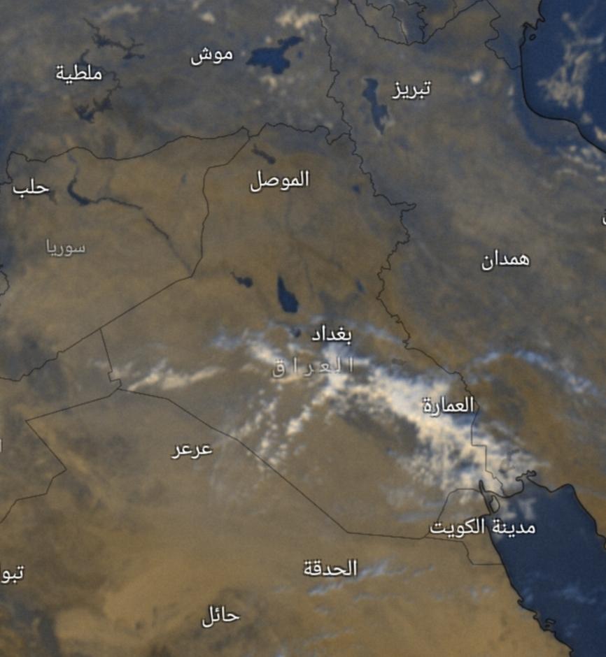 صور السُحب تُظهر فرصاً لتساقط الأمطار جنوب ووسط العراق