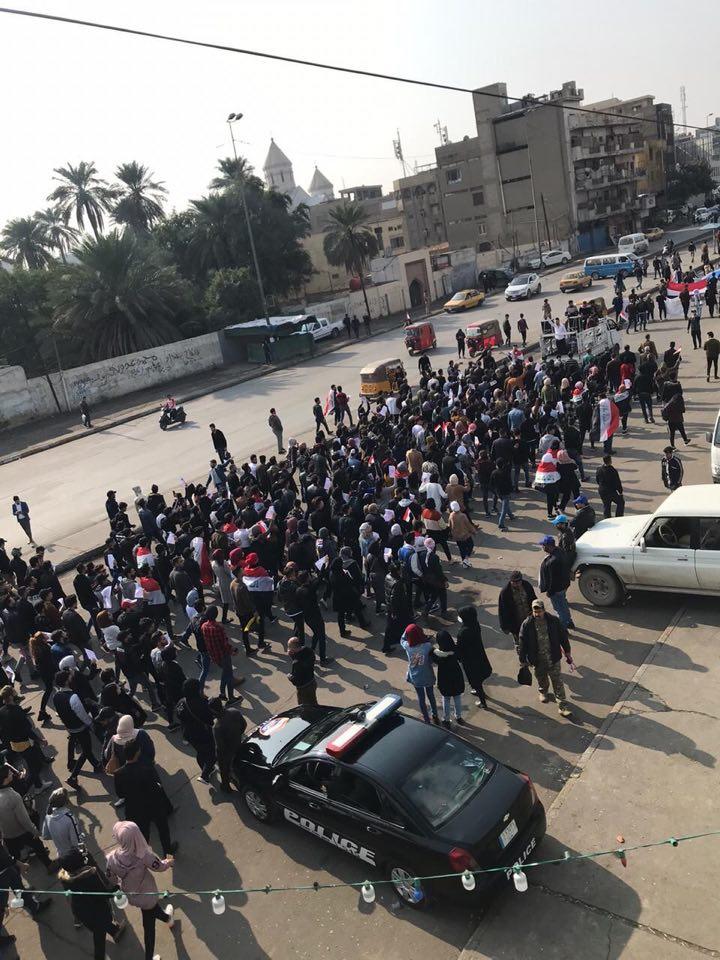 """طلاب """"التكنلوجية"""" يتوجهون صوب التحرير للتضامن بعد """"مجزرة السنك"""" (صور)"""