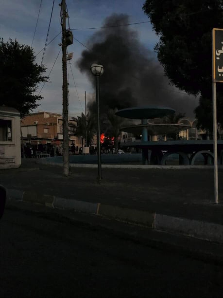 إحراق مبنى نقابة الصيادلة في الناصرية (صور)