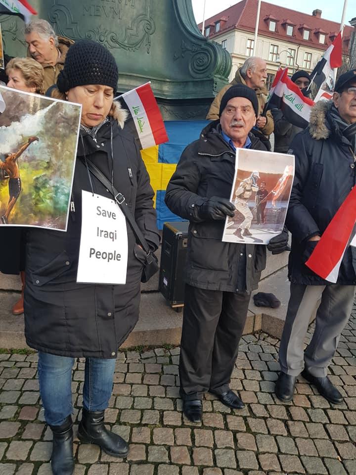 وقفة احتجاجية في السويد تأييداً للتظاهرات: اوقفوا قتل العراقيين (صور)