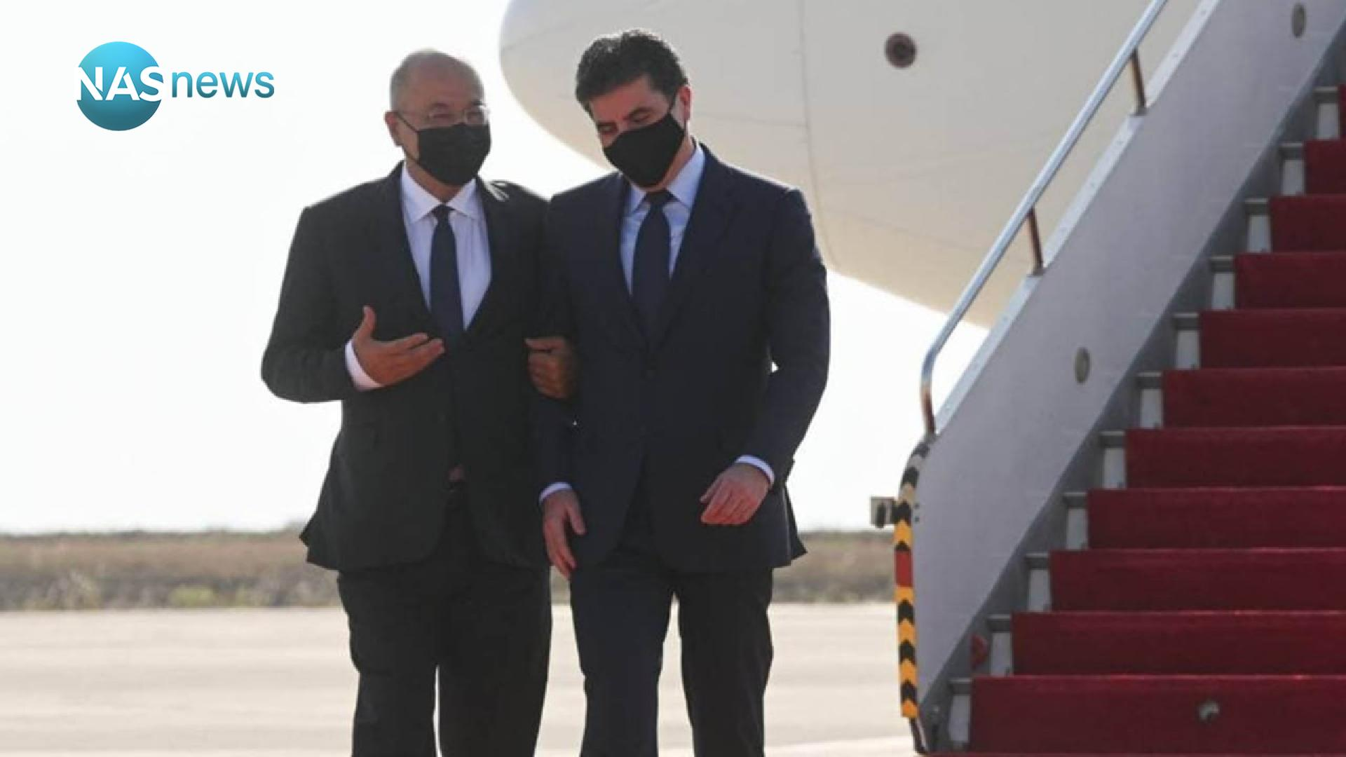 President Saleh in Erbil to discuss a number of files with the region's presidency (photos)